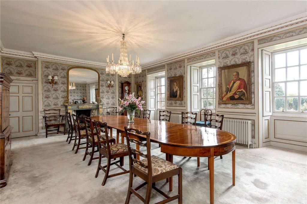 French Imperial style dining room with marble and ormolu fireplace