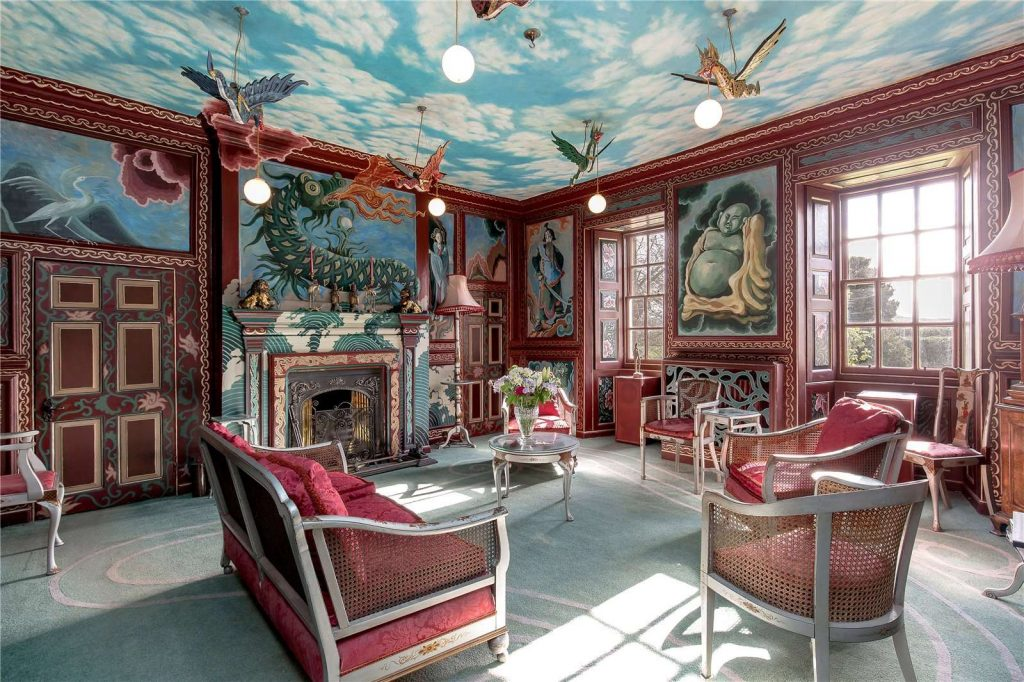 The Chinese room - nouveau chinoiserie murals over bolection panelling