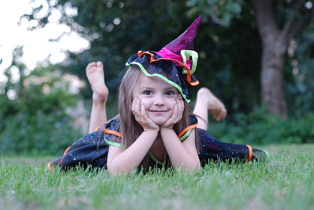 Girl dressed up as witch