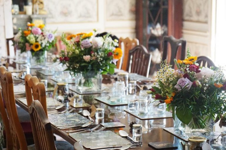 Table decorated for intimate wedding