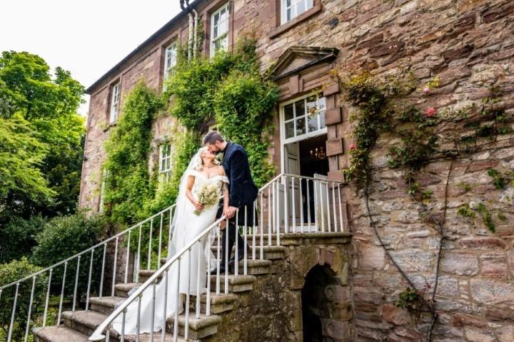 Wedding couple on steps